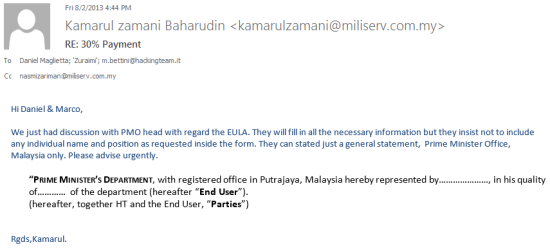 E-mail from Miliserv to Hacking team stipulating the end-customer as the Prime Ministers Department