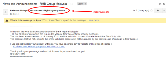 Email from RHB Group
