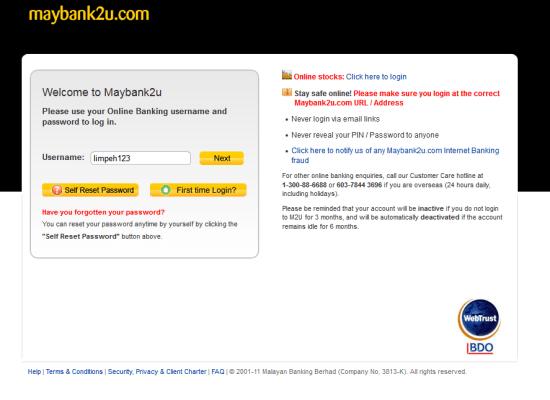 Fake Maybank2u login page