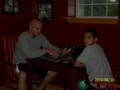 Brian and Josiah playing cards