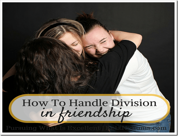 Pursuing What Is Excellent -- How To Handle Division In Friendship