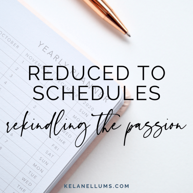 Reduced to Schedules rekindling the passion