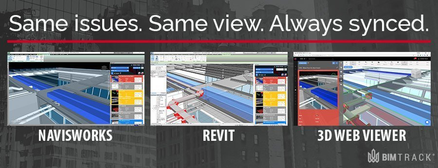 BIM Track results showing Navisworks, Revit and 3D Web viewer synced on the same issue.