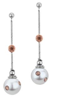 Pink Diamonds In Pearl Earrings