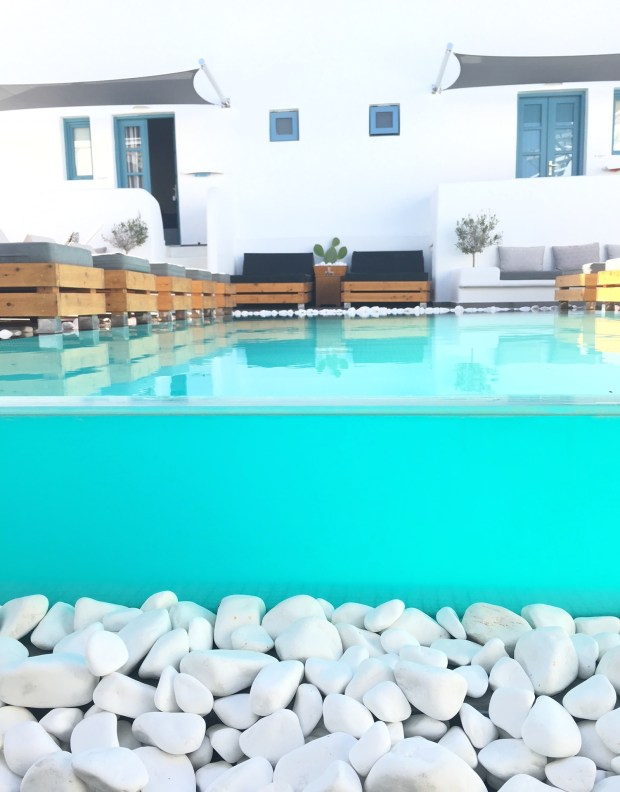 hotel and pool view in Thira Santorini