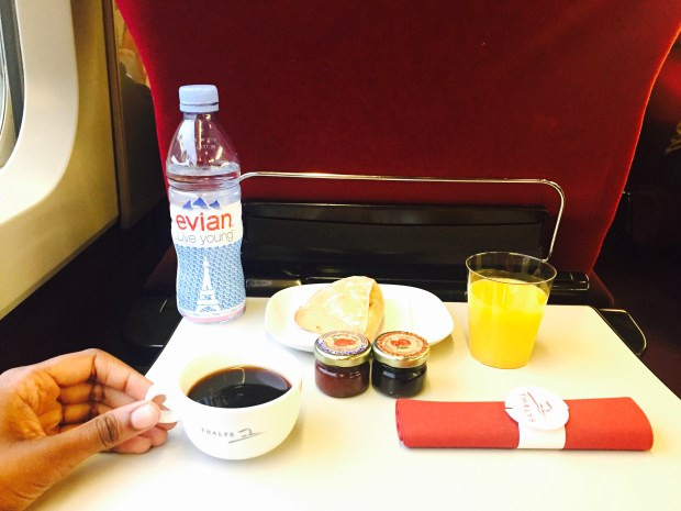 First class and breakfast in the Thalys train