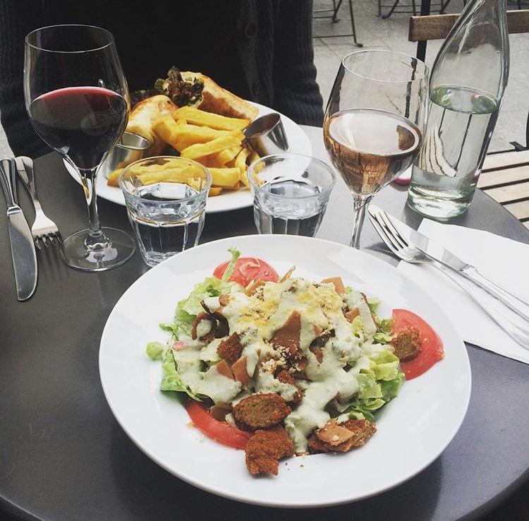 cesar salad, wine and kebab