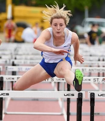 Kellenberg Gabby Schreib clears the final hurdle in the girls' 100 meter high hurdle race at the CHSAA league track championships on Saturday, May 21, 2016.