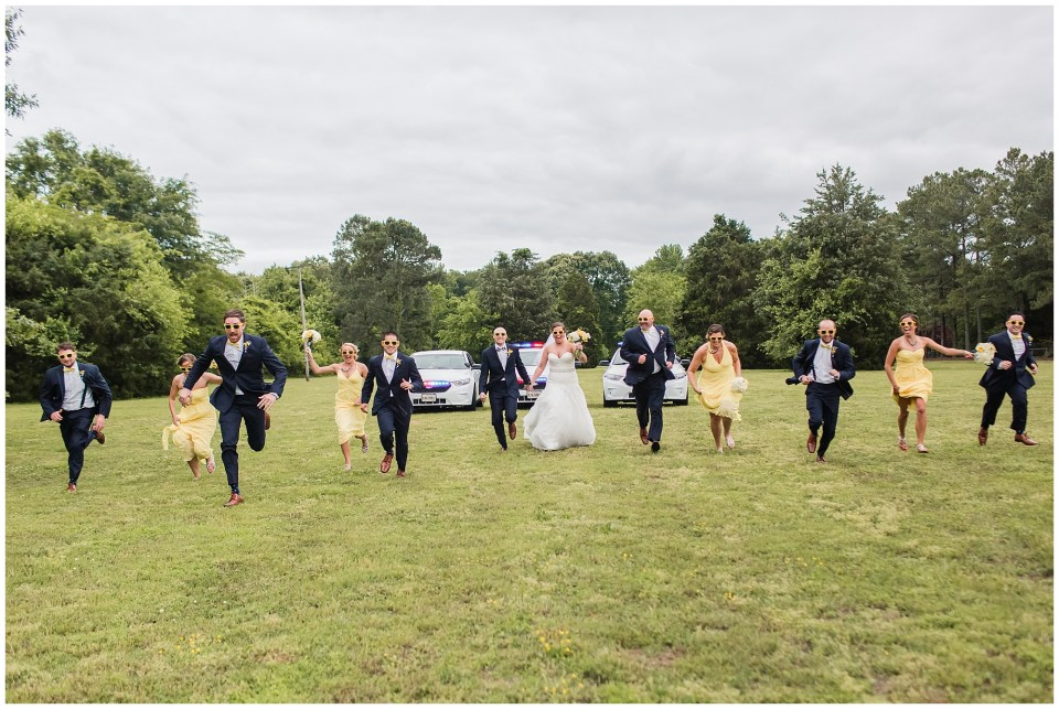 bridal party running from police