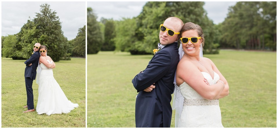 bride and groom wearing yellow sunglasses