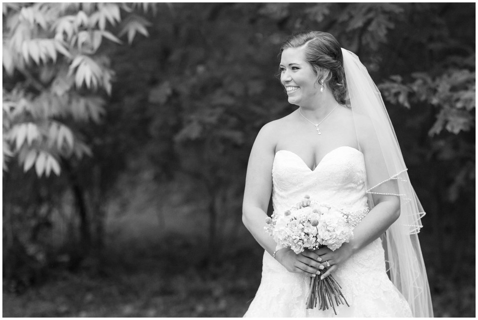 smiling bride in black and white