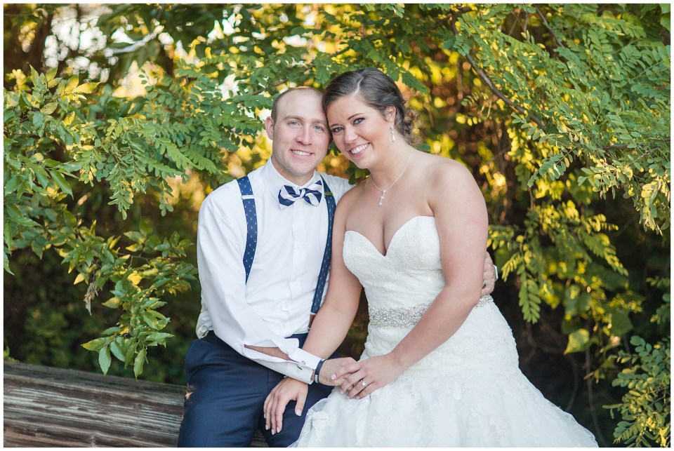 bride and groom sitting portrait