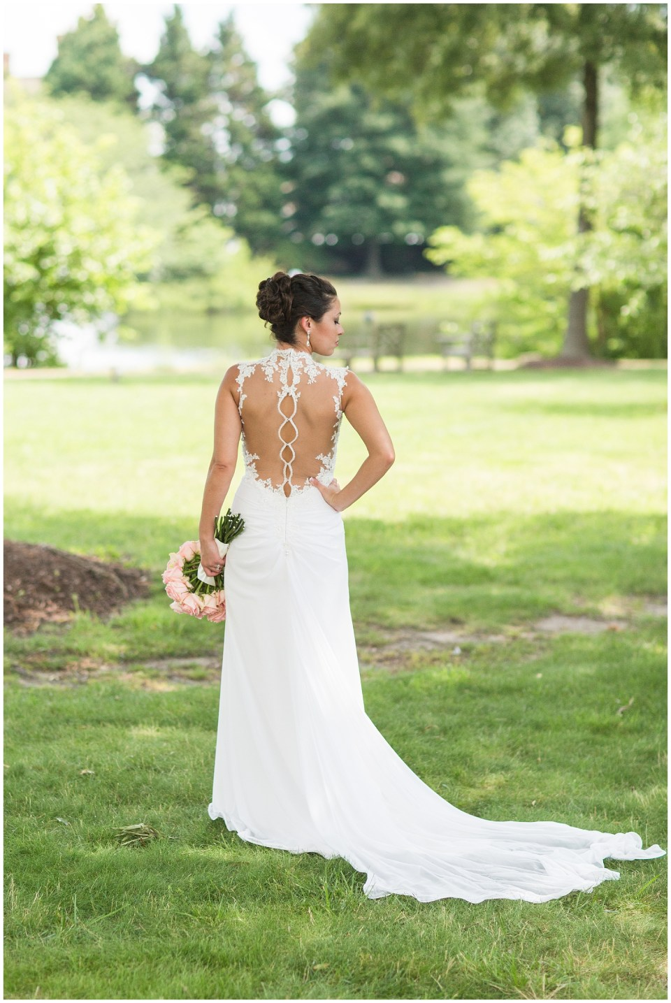 back of Italian lace wedding gown