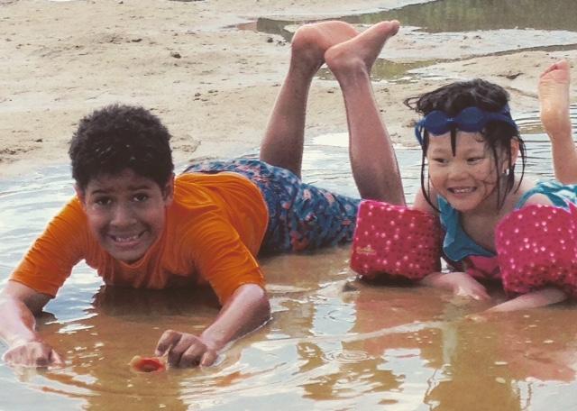 D & A on beach