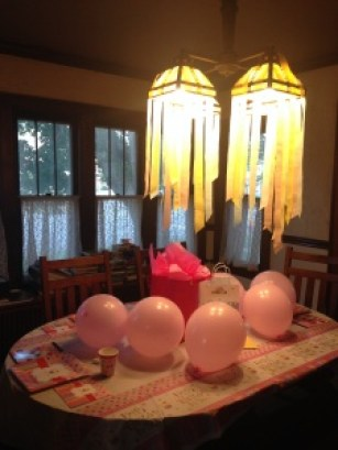 Crepe paper streamers and balloons
