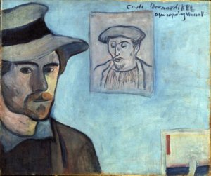 Self-Portrait with portrait of Paul Gauguin. Emile Bernard 1888