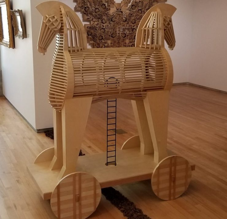 Marcos Ramirez ERRE - Toy An-Horse on display at the Ridley-Tree Art Museum