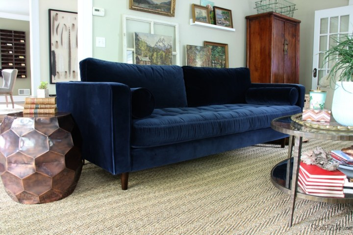 Mid Century Style Blue Velvet Sofa Love This Eclectic Room With Vintage Landscape Gallery Wall