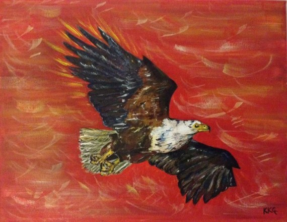Freedom to soar - eagle - acrylics on canvas - Kelly Goss