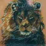 Lion - oil pastels - Kelly Goss