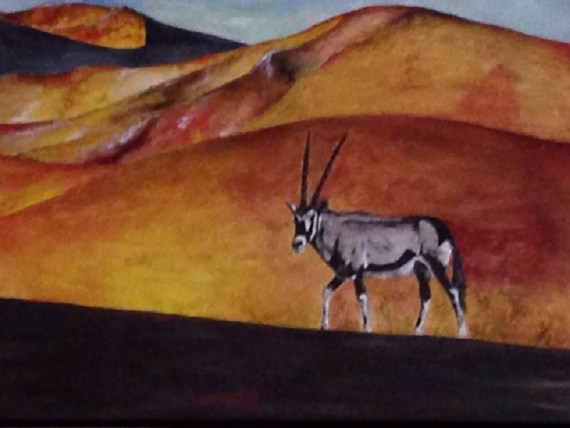 The lone oryx - acrylics on canvas - Kelly Goss