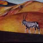 The lone oryx - acrylics on canvas - Kelly Goss