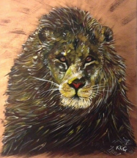 Majesty lion - acrylics on canvas - Kelly Goss