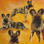 African Wild Dogs painting - acrylics on canvas - Kelly Goss