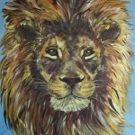 Lion painting in acrylics on canvas by Kelly Goss