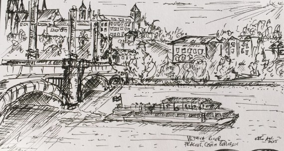 Sketch of the Vltava River, Prague - Kelly Goss