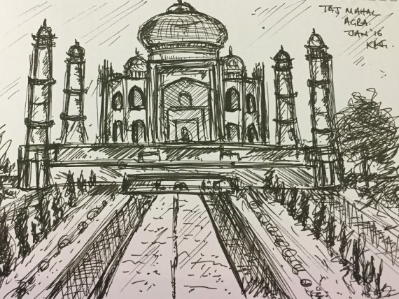 Taj Mahal, Agra - ink on paper - Kelly Goss