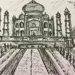 Taj Mahal, Agra - ink on paper - Kelly Goss