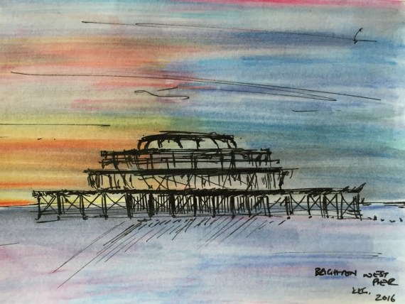 West Pier, Brighton - ink & watercolours on paper - Kelly Goss