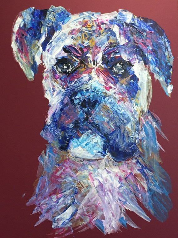 Abstract Boxer dog - acrylics on board - Kelly Goss Art