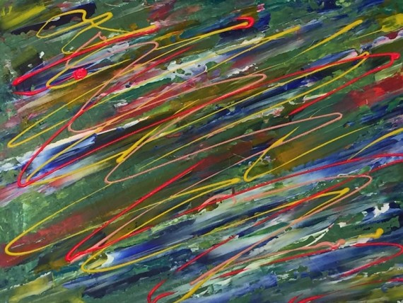 """Organised chaos"" Abstract - acrylics on canvas - Kelly Goss Art"