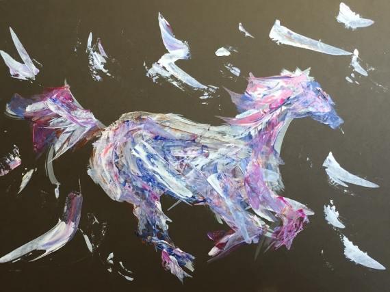 """Running horse"" - abstract art - acrylics - Kelly Goss Art"