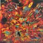 """Sunburst"" abstract - Pebeo mixed media on board - Kelly Goss Art"