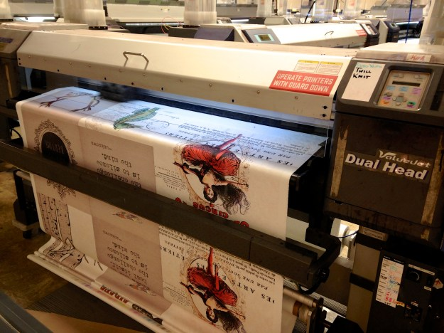 A custom fabric being printed at Spoonflower
