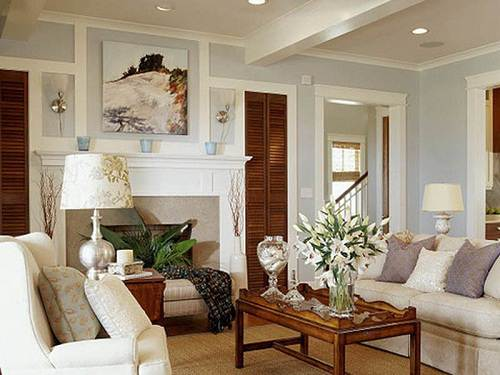 Living room with Warm Grey Paint Color