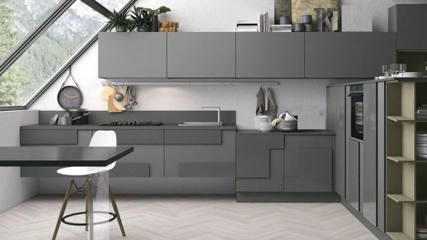 grey and white kitchen Dark Slate Grey Kitchen Contemporary with Zig-Zag Floors 17