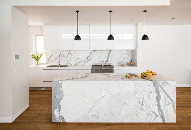 grey and white kitchen Full Marble Island Dark Wood Floors White Cabinets 28