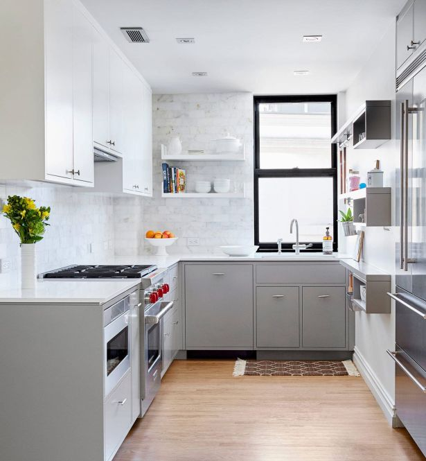 grey and white kitchen Grey and Stainless Steel Kitchen White Counters and Mix Backsplash 16