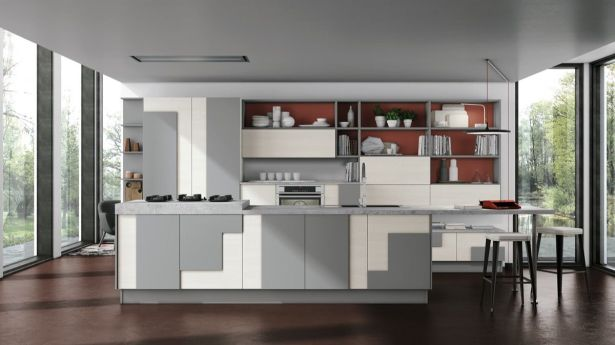 grey and white kitchen Grey and White Blocked Cabinets Dark Wood Floor 20
