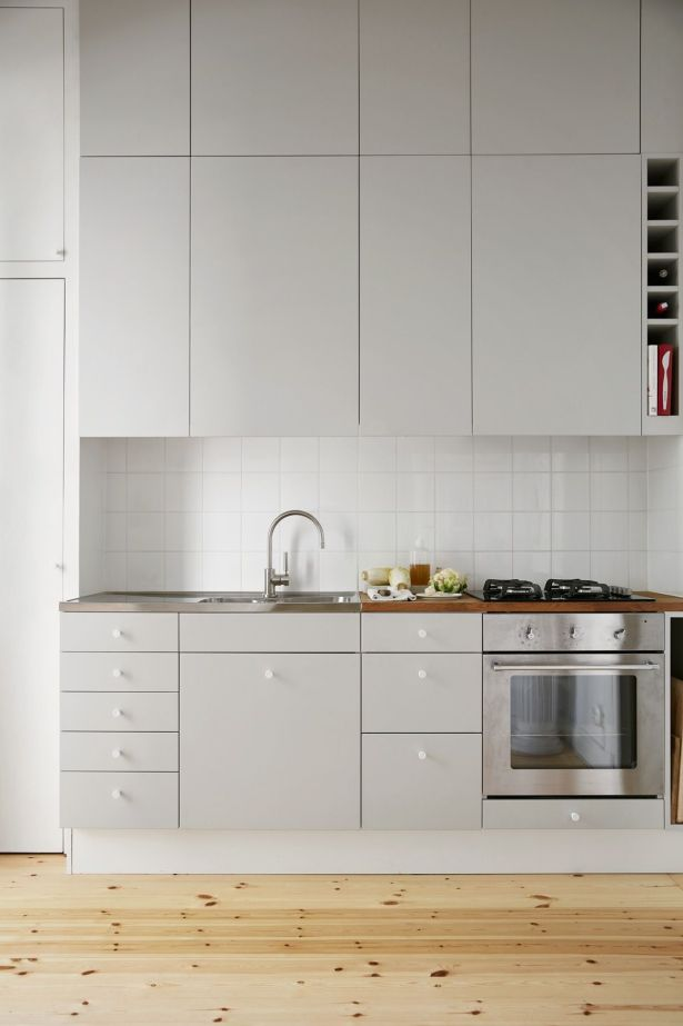 grey and white kitchen Light Grey Kitchen Cabinets Pine Floors 15