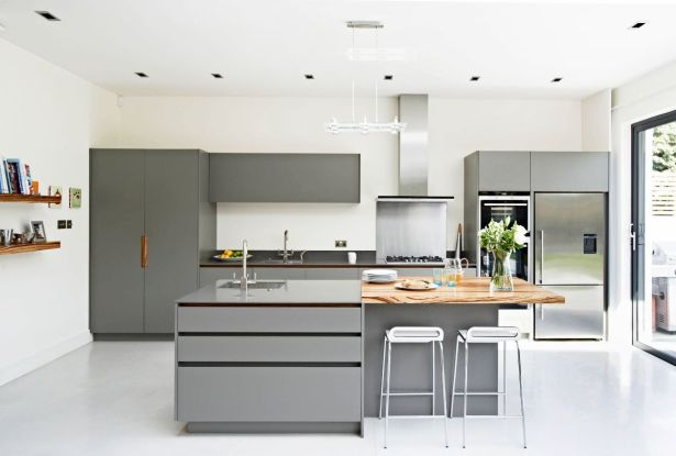 grey and white kitchen White Floors Grey Cabinets Wod Island Stainless Steel Kitchen 19