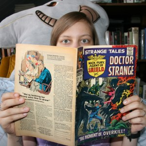 Miss Migraine Reading issue 151 of Strange Tales