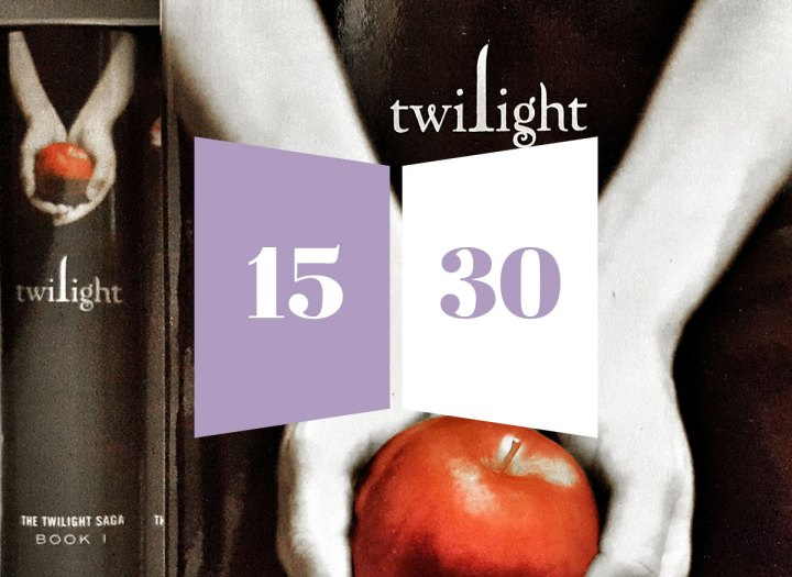 15 and 30 in a purple and white book over the Twilight book