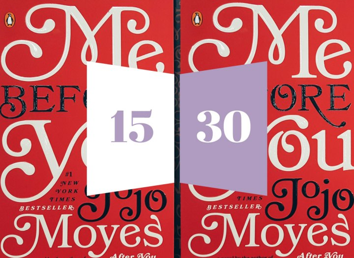 Me Before You book by JoJo Moyes with the kellymaclilac 15/30 in purple and white