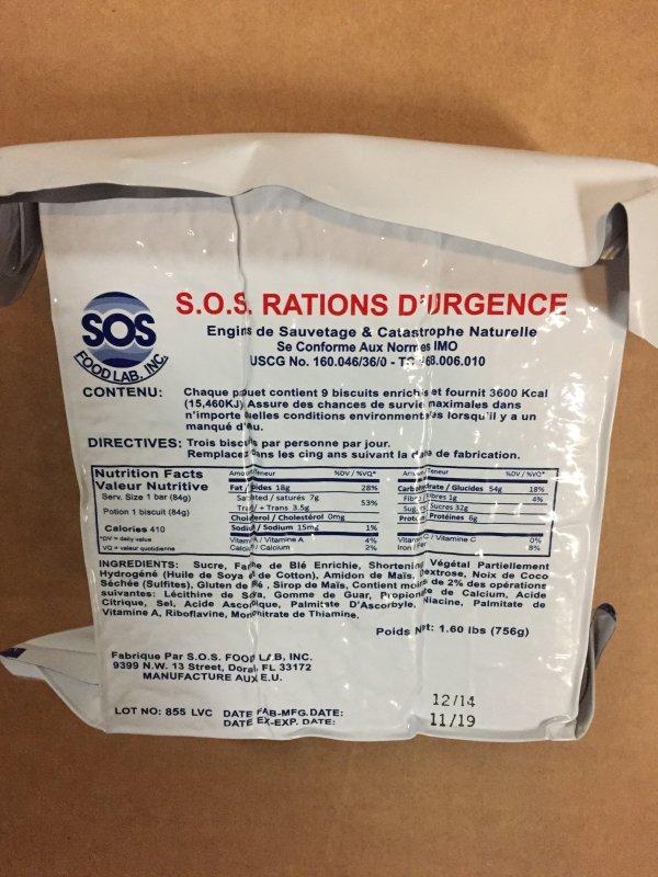 SOS 3600 Calorie Food Bar