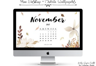 November 2017 Calendar Wallpaper by Kelly Sugar Crafts